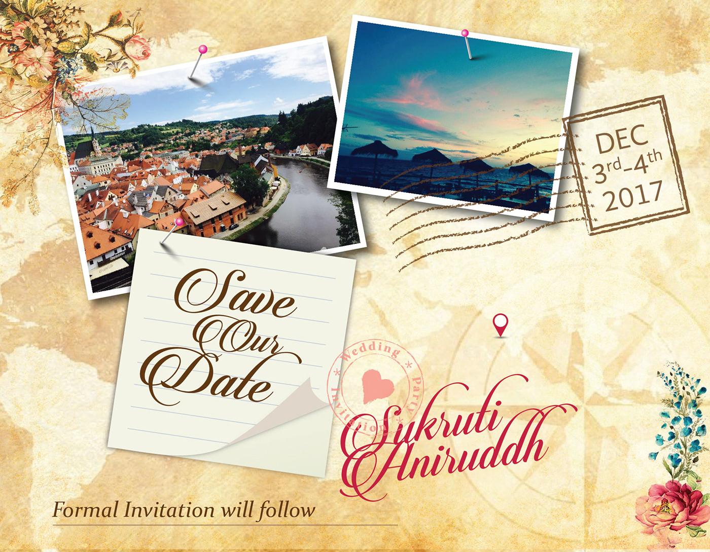 design agency designing Digital Art  digital invitation graphic design  multidisciplinary design Travel theme invite