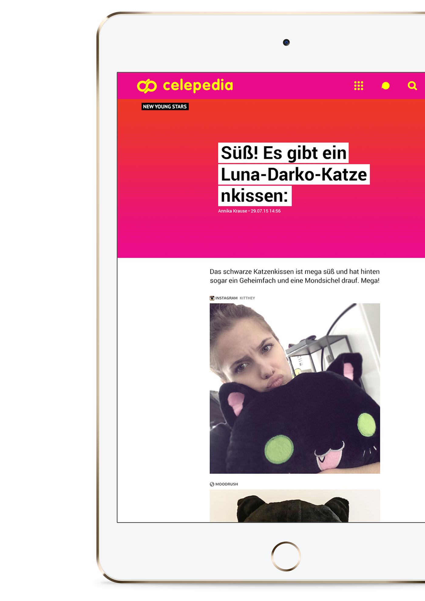 Celepedia Celebrity Webdesign Startup berlin Axel springer online visual identity design online magazine