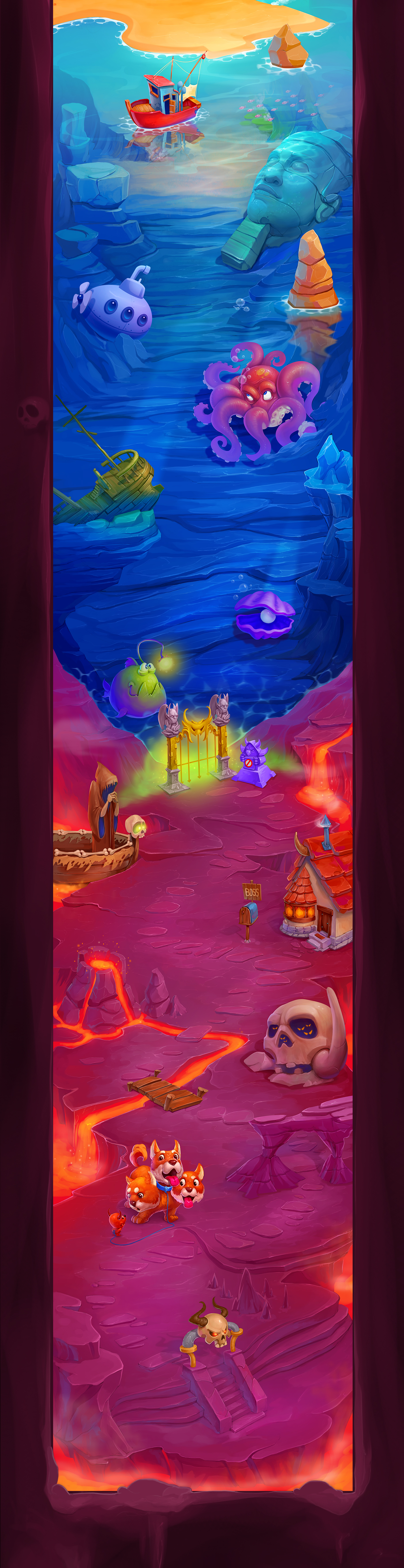 map GUI Character game Level powerup upgrade devil angel Cat background UI hell jungle mountains