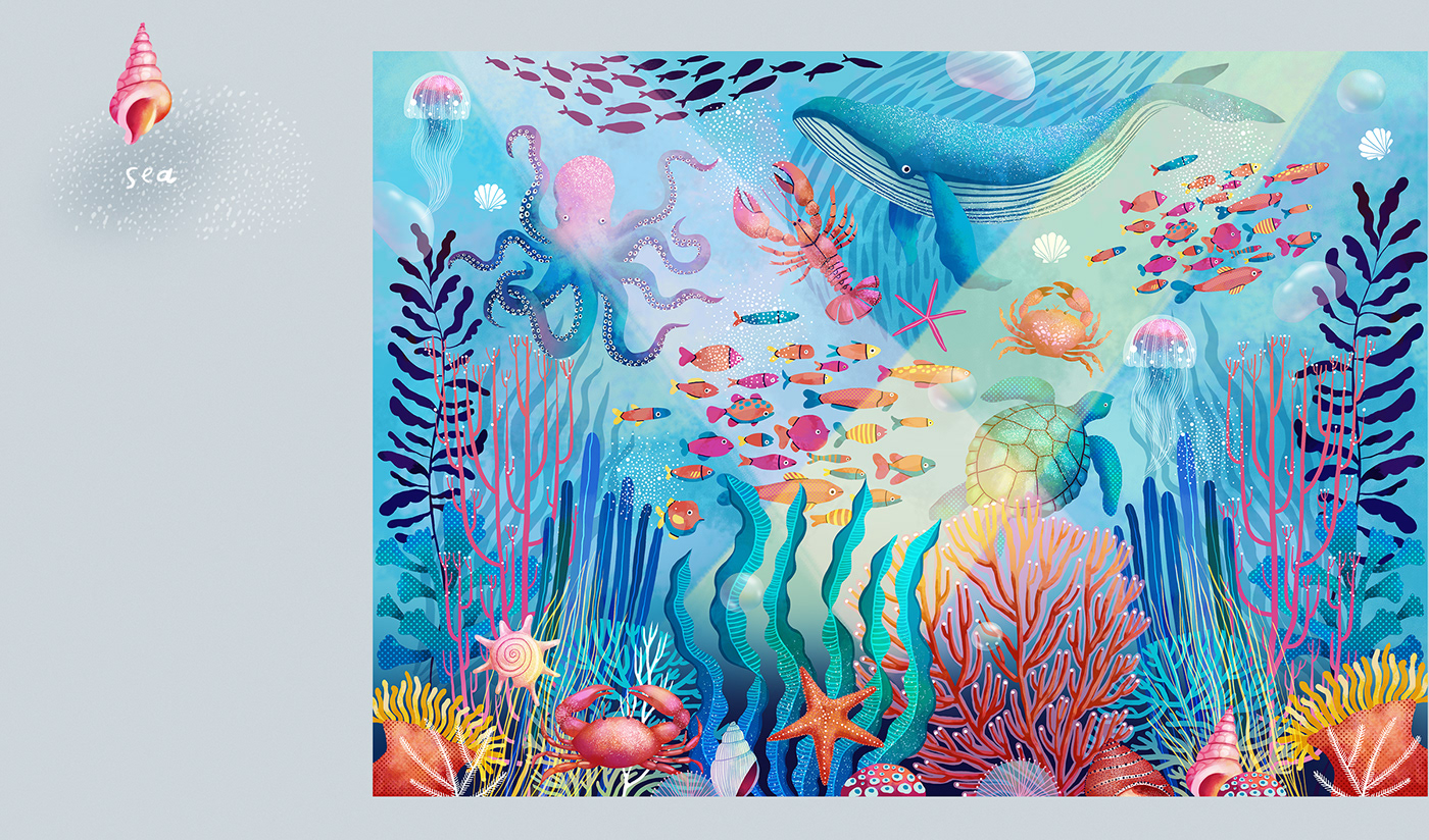 Image may contain: reef, painting and child art