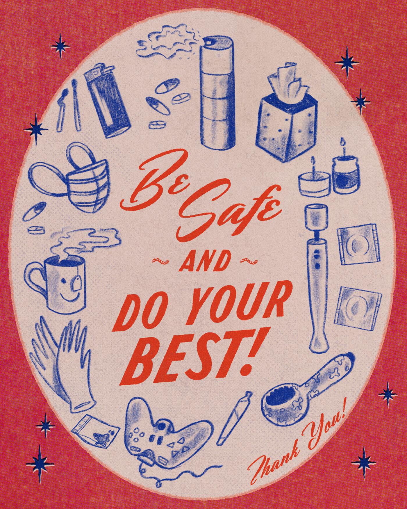 1940's graphic design  ILLUSTRATION  Magazine Ad pandemic texture vintage