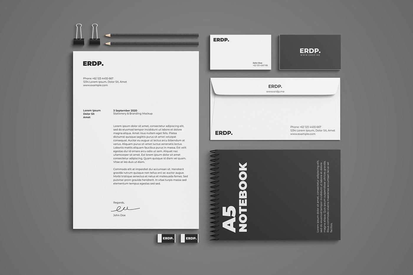 branding  paper photoshop Stationery