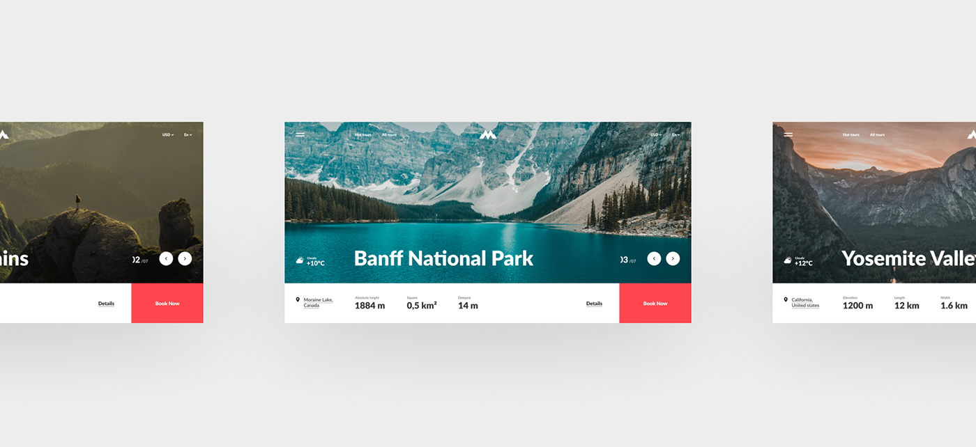 concept minimal mountain Travel Booking interaction animation  ux UI Interface