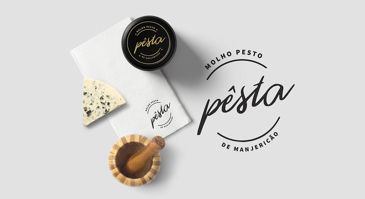 sauce pesto package Packaging dieline ILLUSTRATION  font type Label free