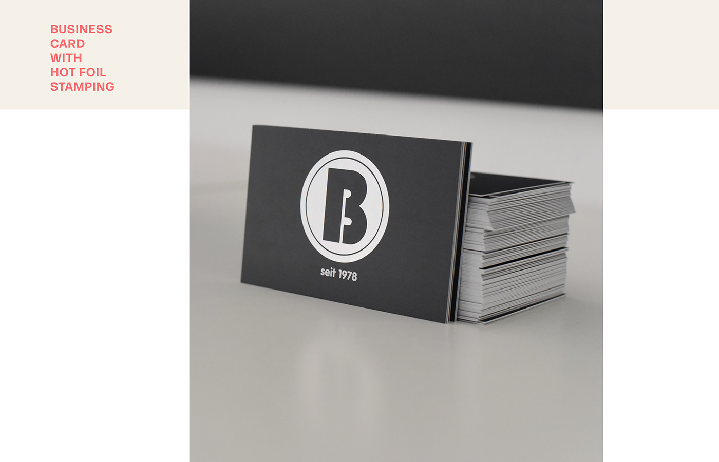 business card dark grey exclusive printing finishing technoloy Hot Foil Stamping interior company Matt Silver