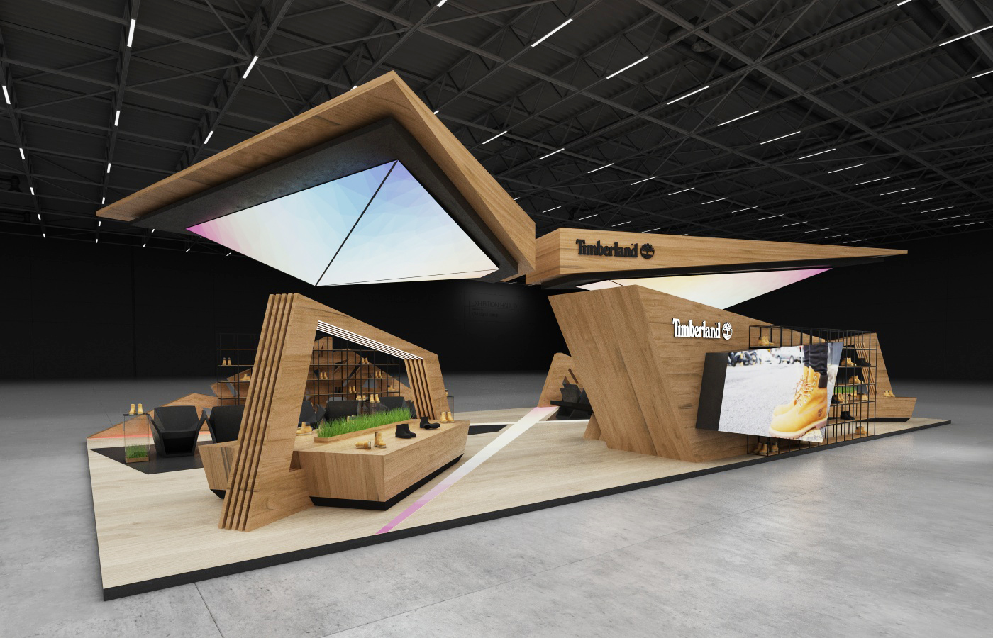 Exhibition Stand Shelves : Timberland exhibition stand on behance
