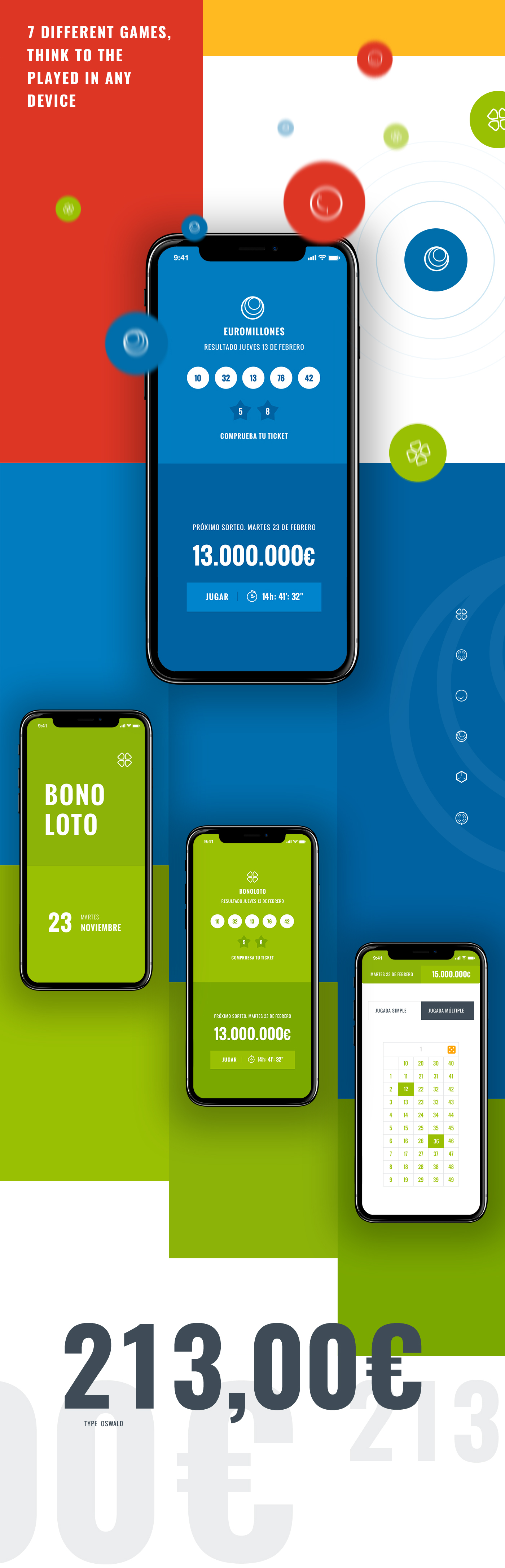 Responsive UI ux Games Lottery mobile smartphone user interface user experience play