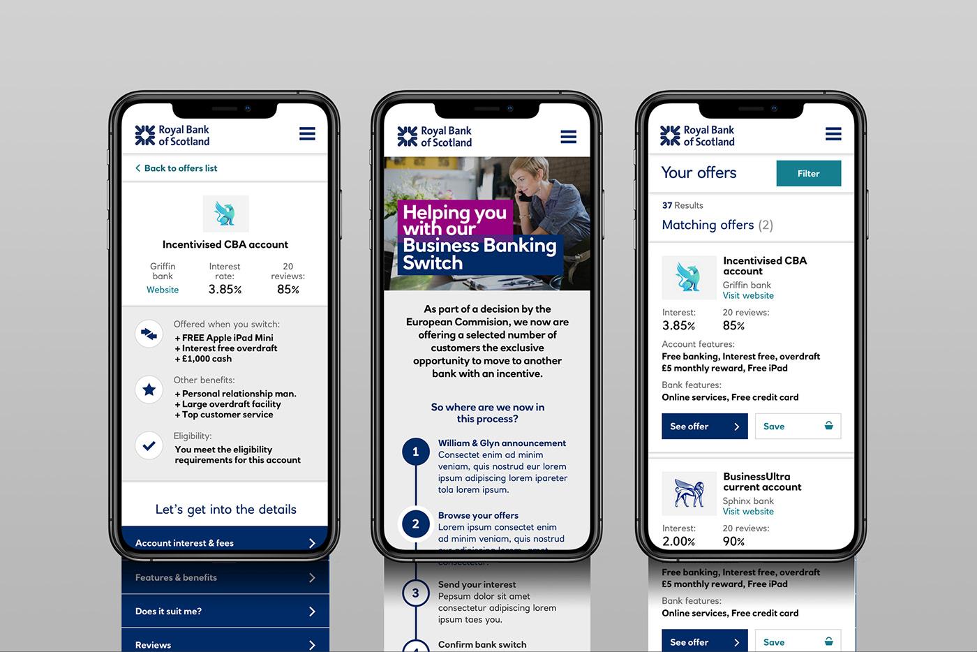 banking business comparison desktop mobile ui design ux visual design