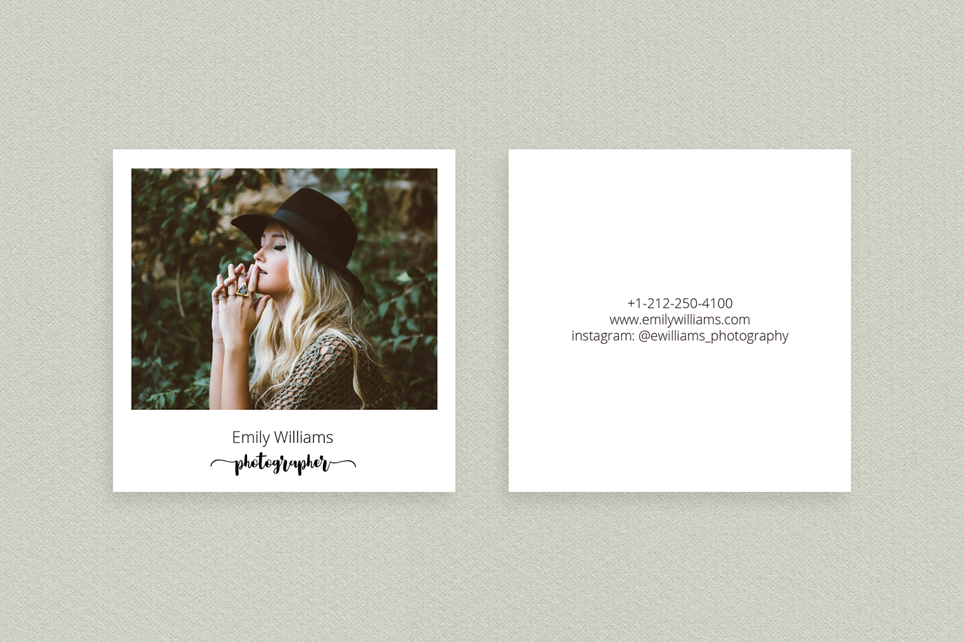 Square polaroid photographer business card template on behance square polaroid business card is creative unique and cool visiting card template made in minimal style for photographers looks professional reheart Images