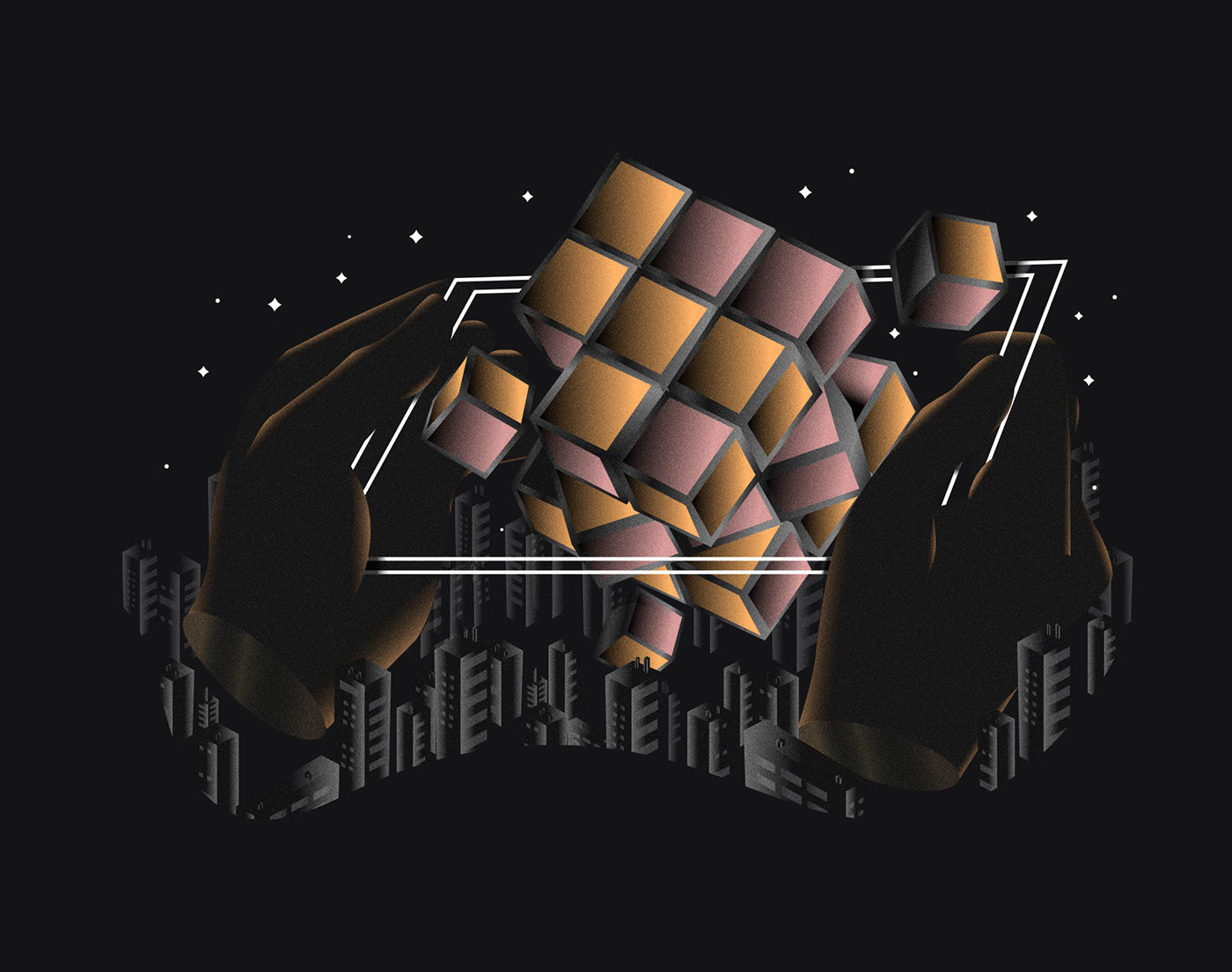 hands illustrations Internet iPad mobile rubik smartphone tech Technology Web