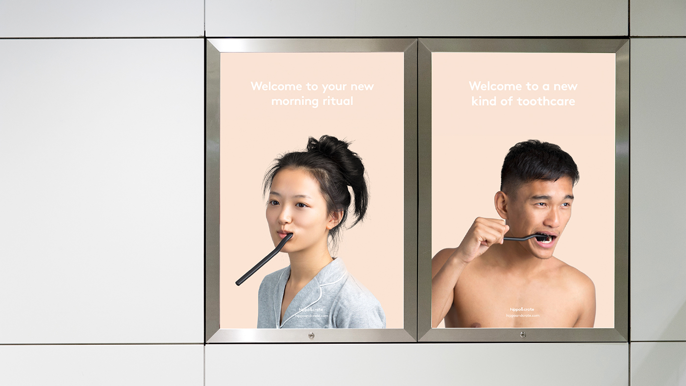 Toothcare subscription Packaging branding  crate box delivery Ecommerce toothbrush minimal