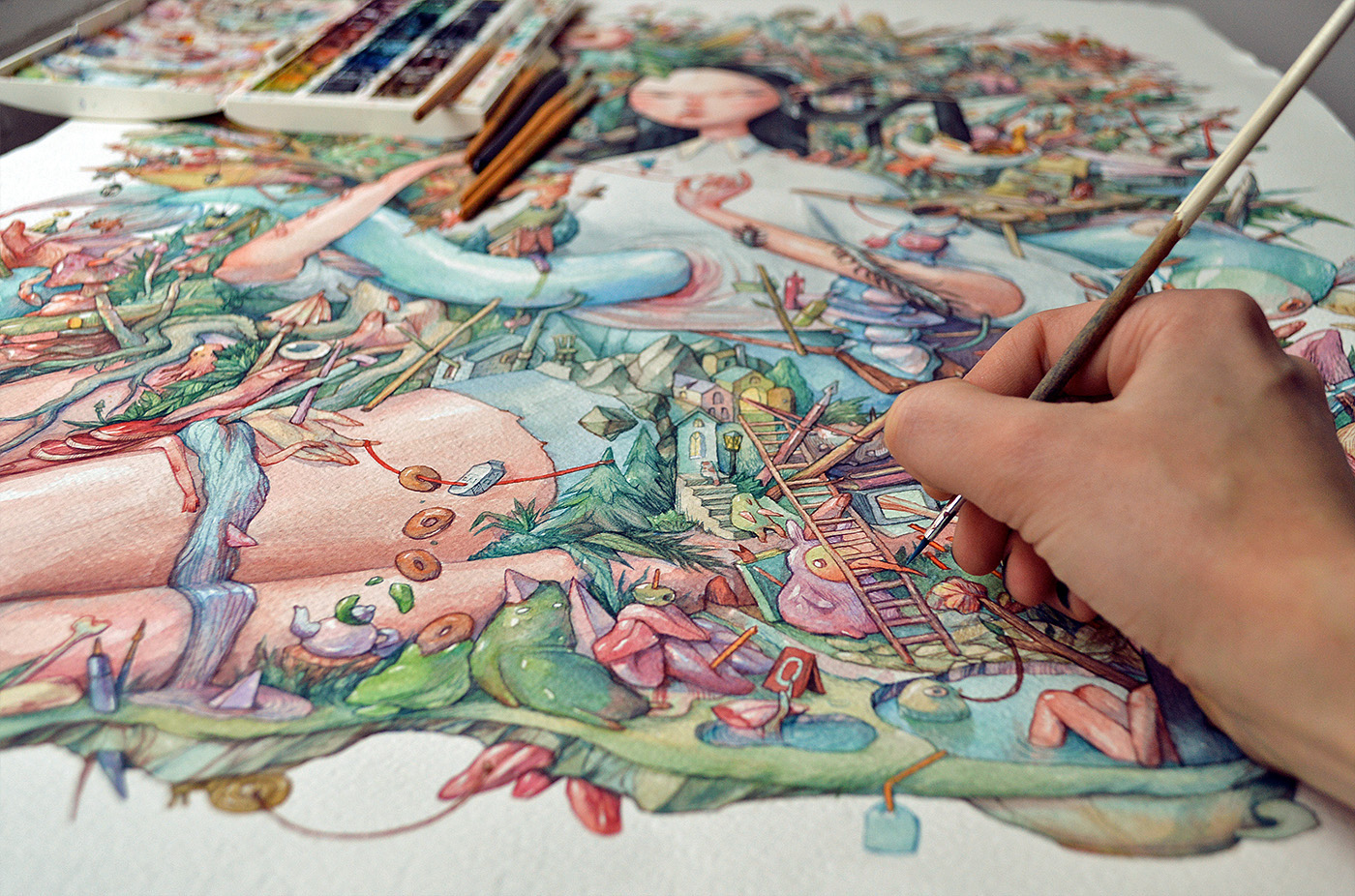 Illustration & Painting: My Giant Watercolor Eden