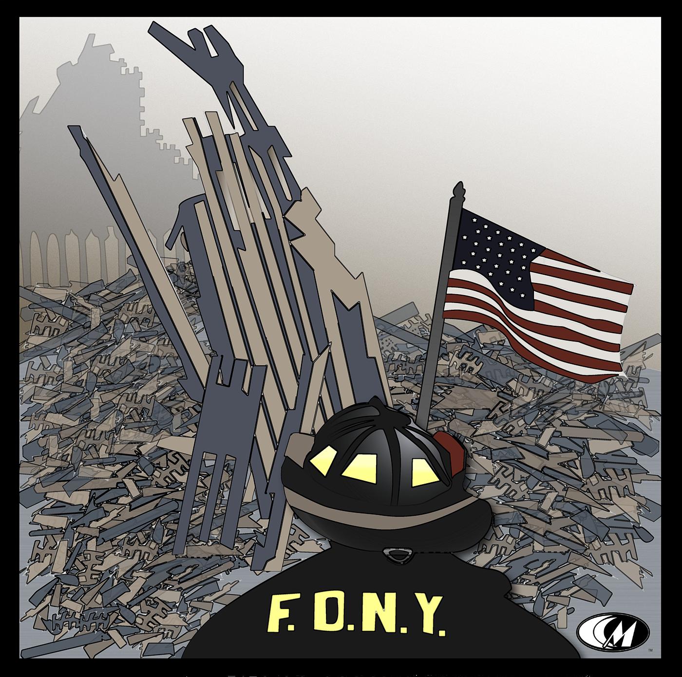 September 11 ground zero Patriot's Day american flag Firefighter nyc World Trade Center hope strength remember