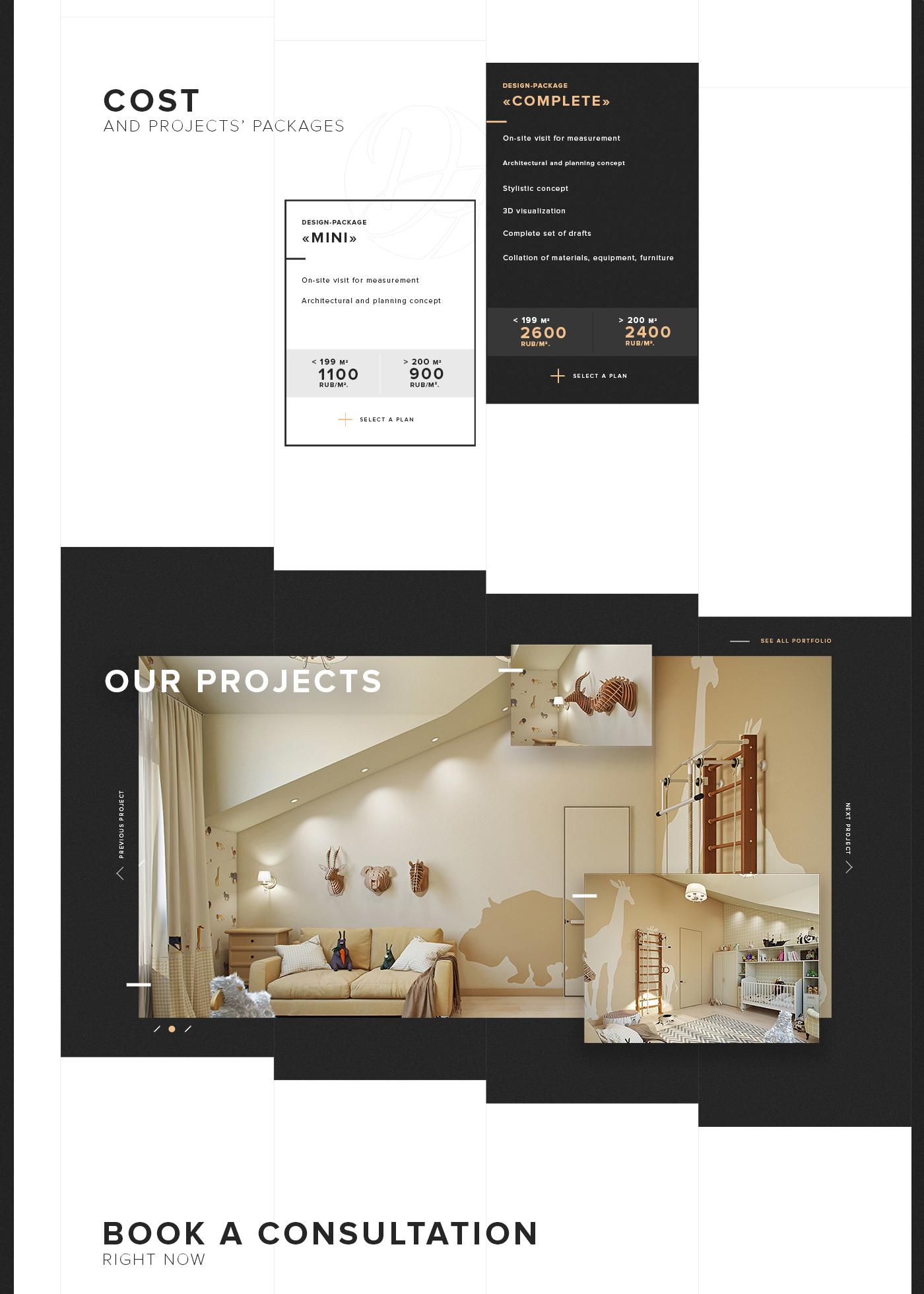 Interior Design Website Template 42812: Interior Design Website On Behance