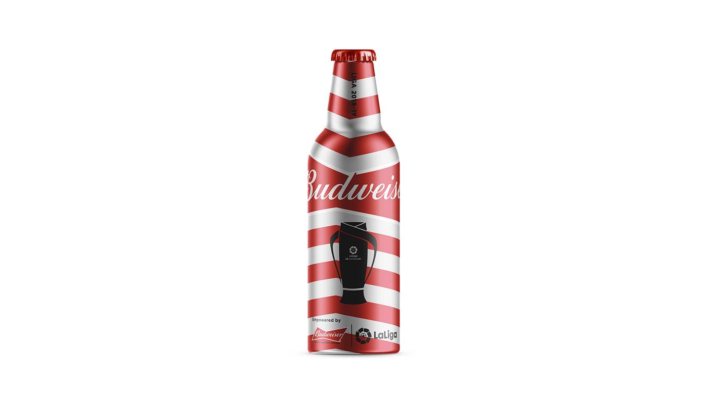 Budweiser metal bottle Packaging beer metal laliga football Futbol