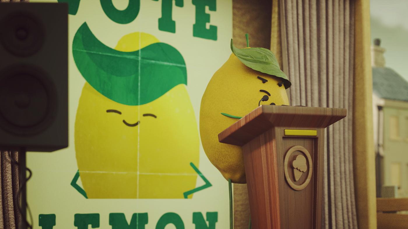society 3D animation  fruits social lemon cherry inclusion