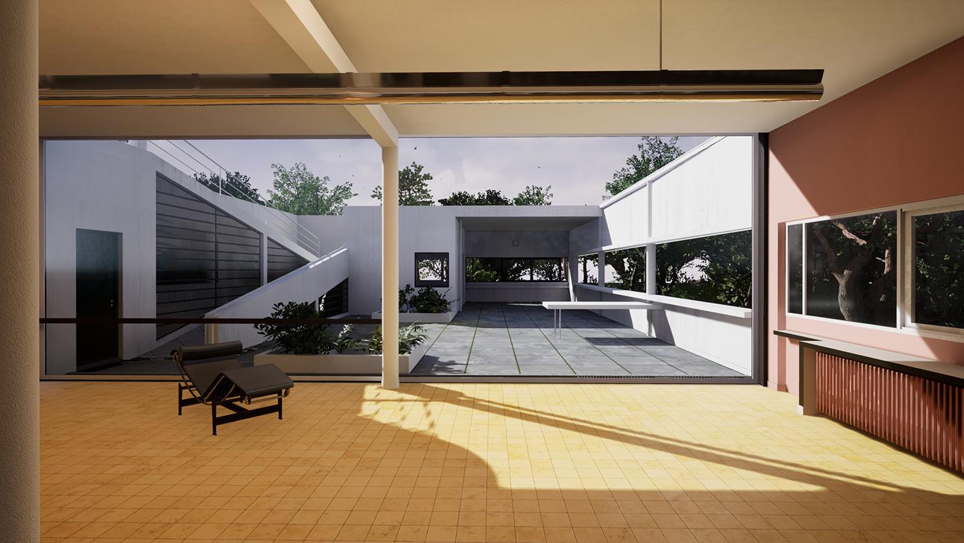 UE4 c4d architecture vr Villa Savoye Le Corbusier 3dcg