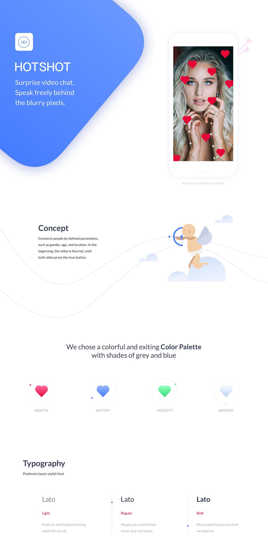 app design concept Dating videochat surprise Hotshot user interface interaction