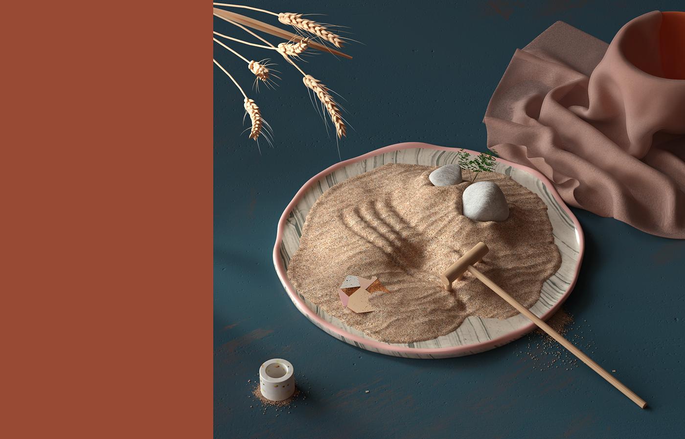 3D,3dart,ILLUSTRATION ,ArtDirection,colorpalette  ,WarmColors,sand,design,photoshop,SETCOMPOSITION