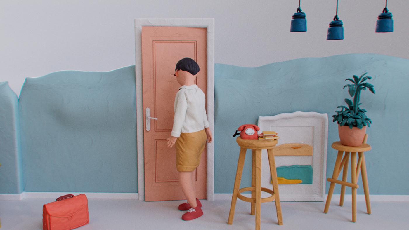 3D animation  c4d cartoon CGI cinema4d Interior motion graphics  Render story
