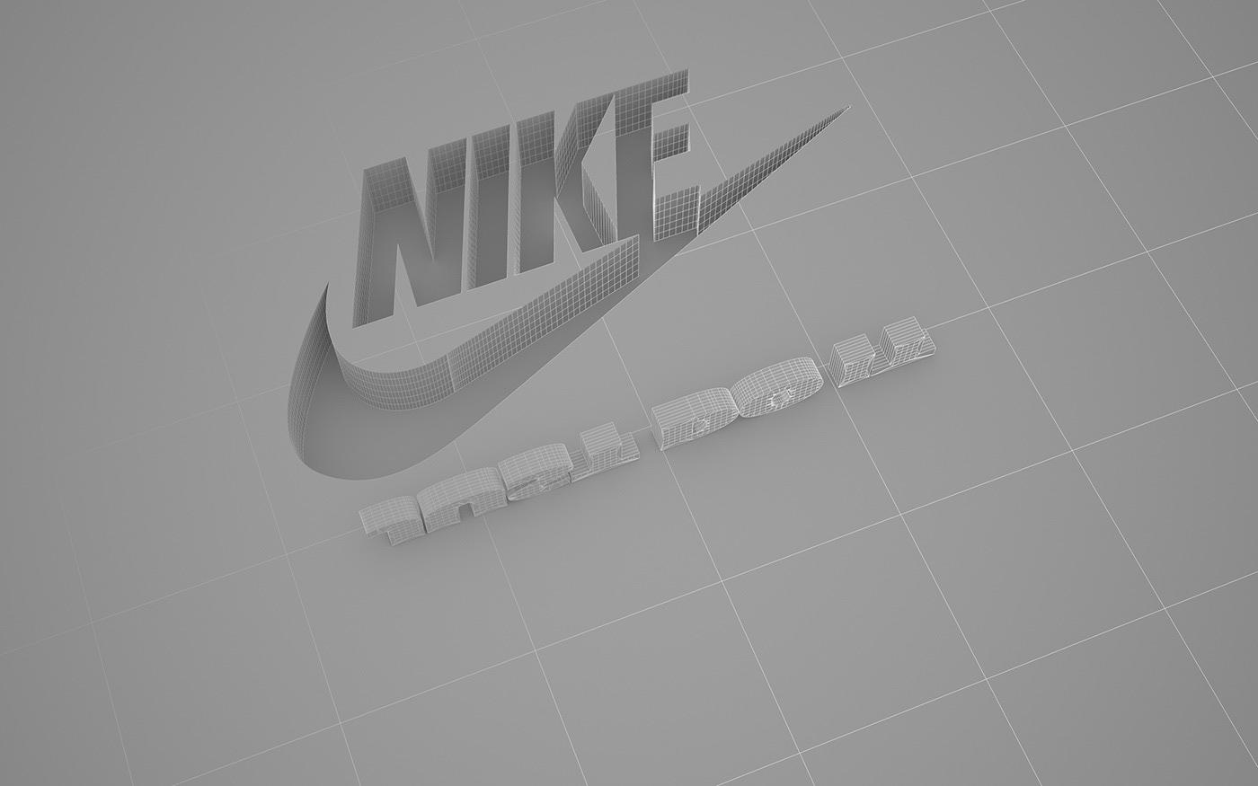 3D CGI vray Nike just do it Shadows logo branding  sport concrete