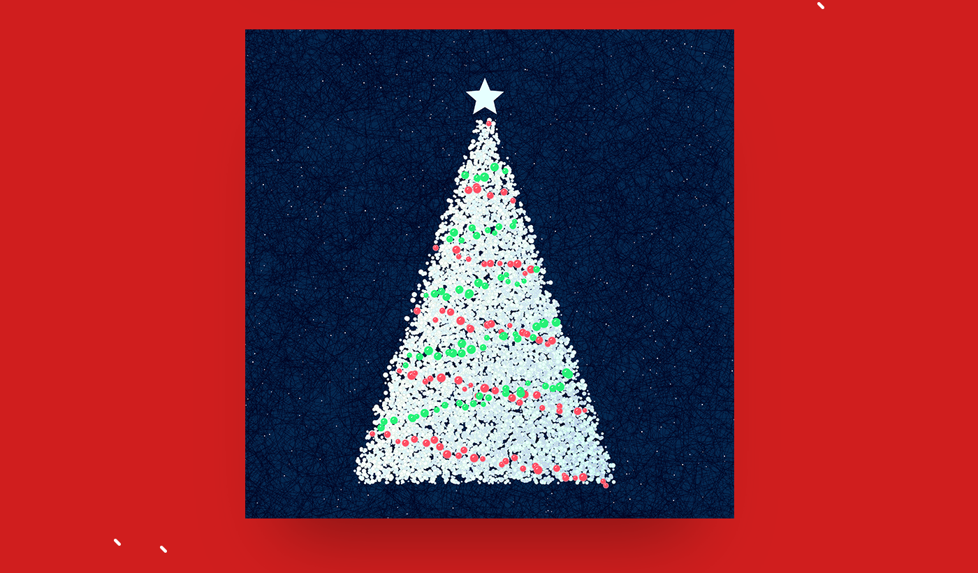 processing generatvie Christmas Code art card x-mas Tree  ornament metrial