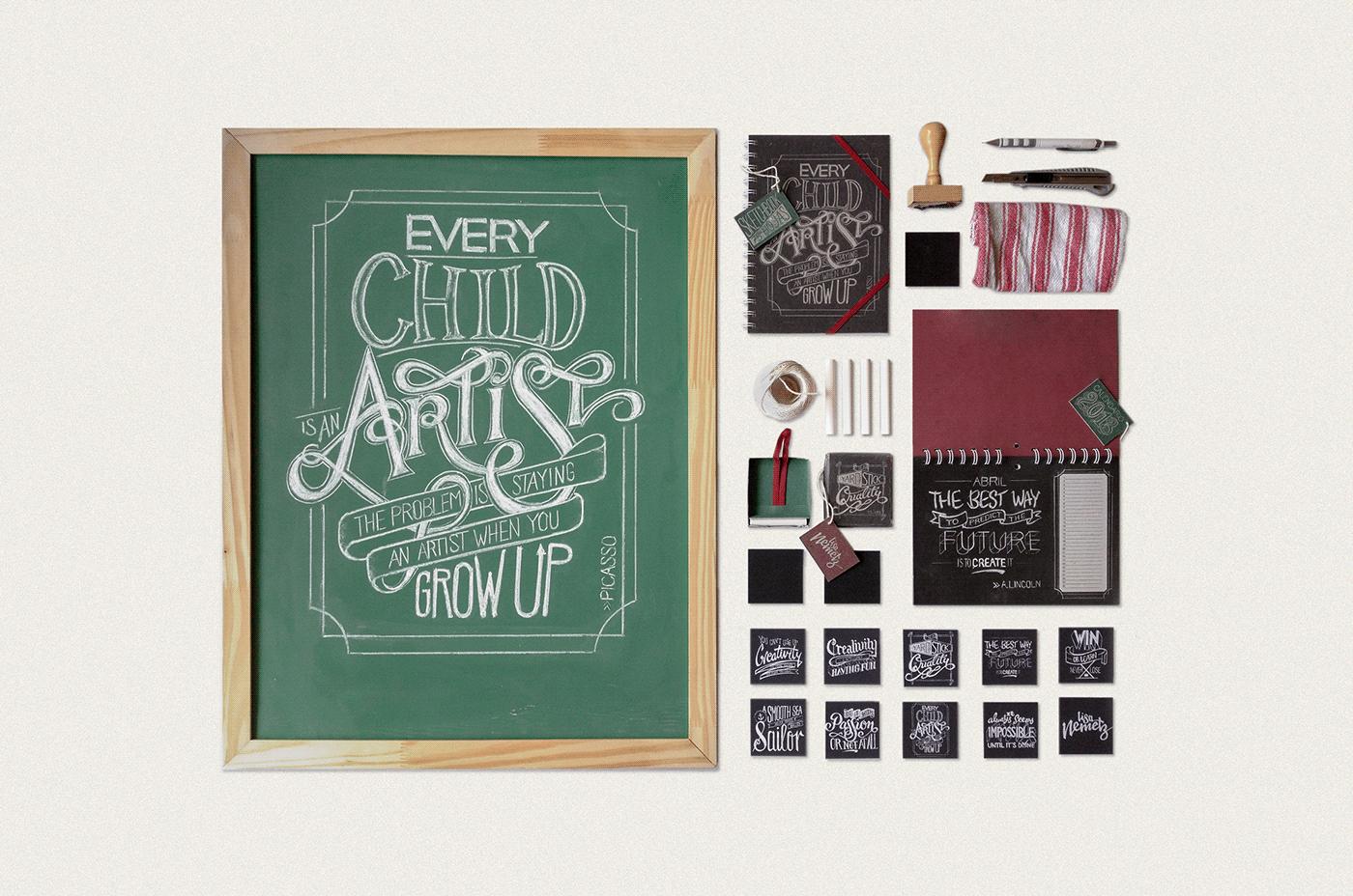 Adobe Portfolio Chalkboard chalk quote future Stationery blackboard calendar Creativity innovation lettering magnets notebook paper goods sketchbook type