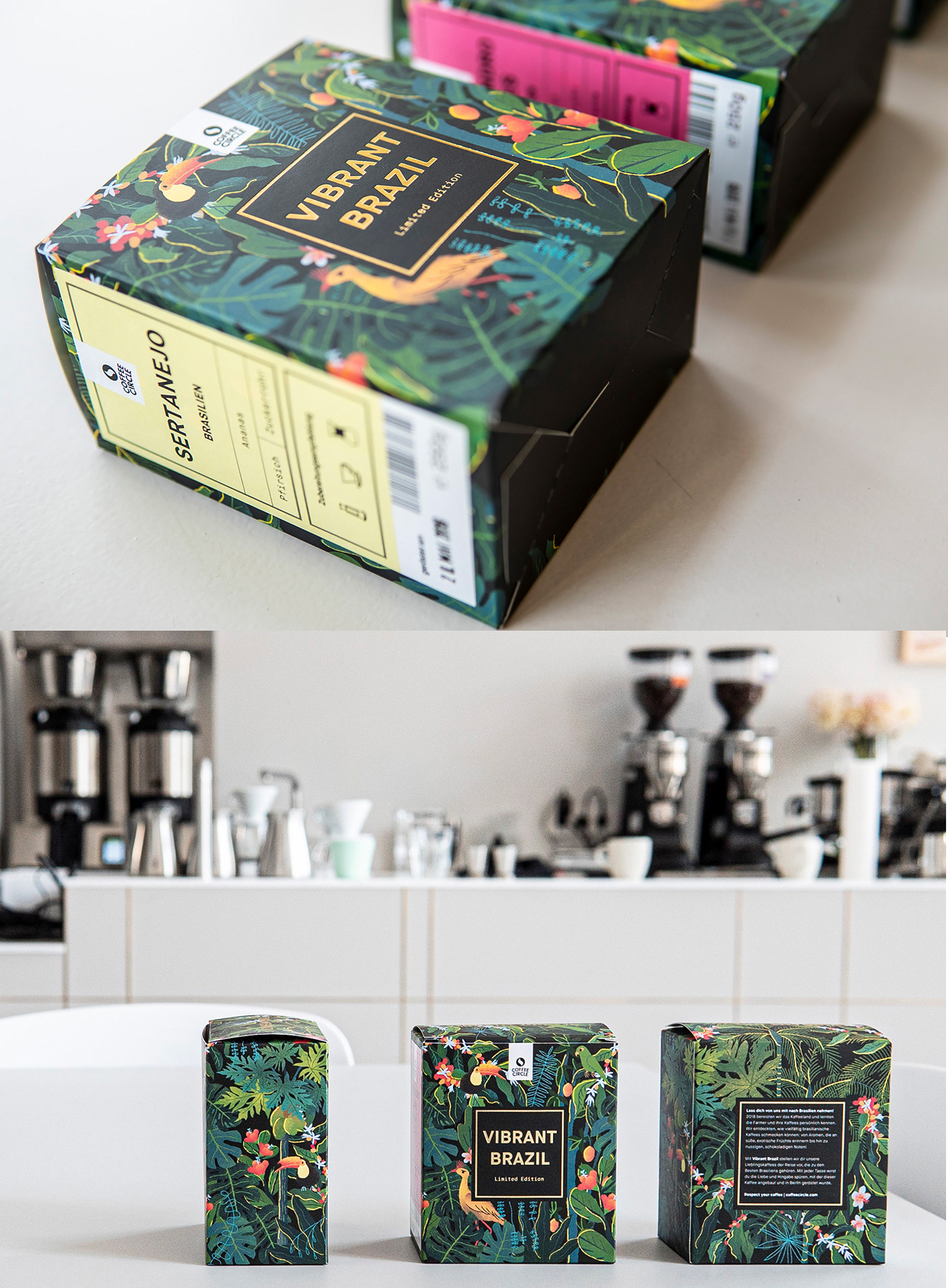 Coffee Brazil coffee circle berlin package Aslin Yuheng lin jungel vibrant brazil ILLUSTRATION