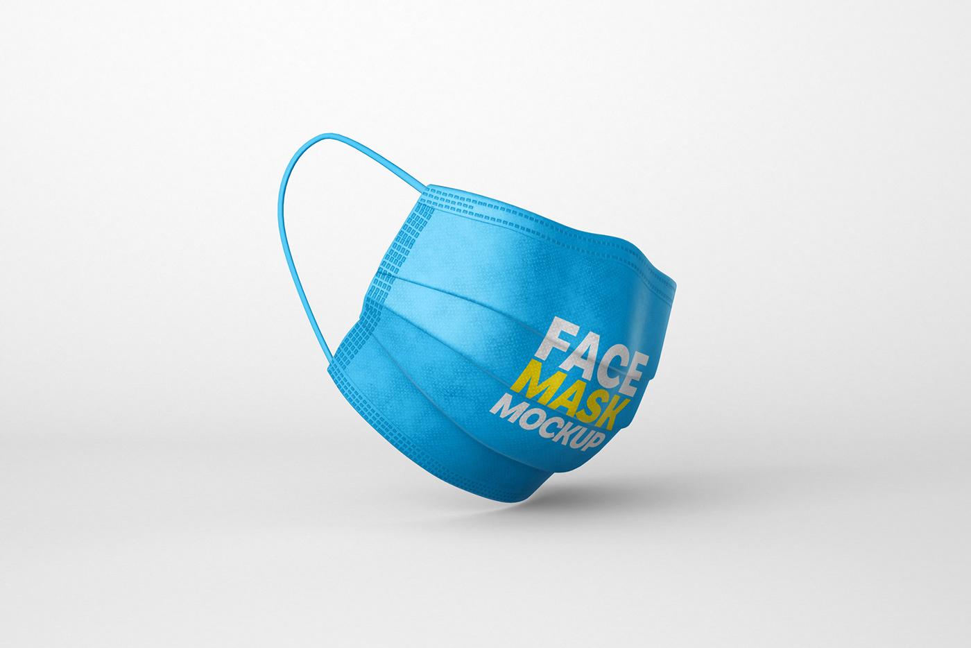 corona COVid face mask Mockup Protect psd virus free Respirator