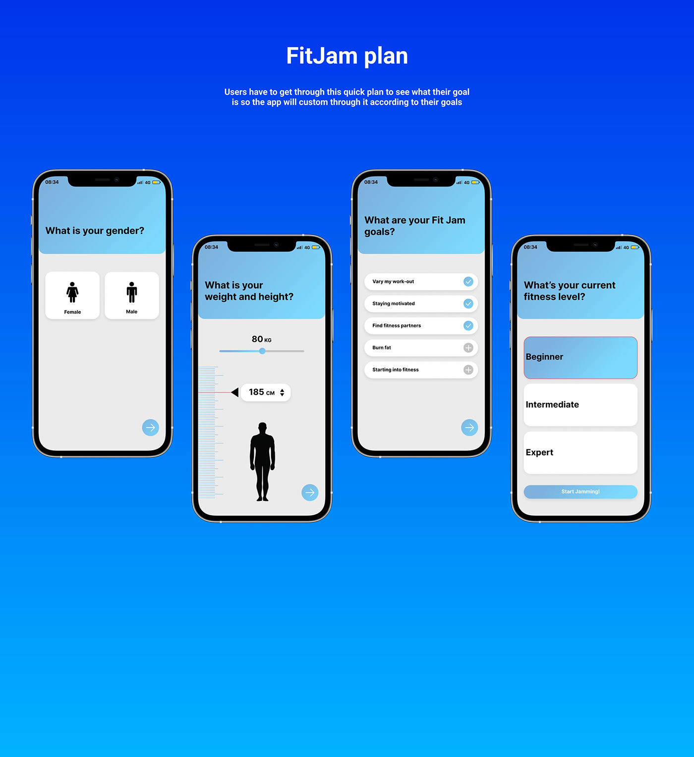 application fitness app mobile Mobile app UI/UX