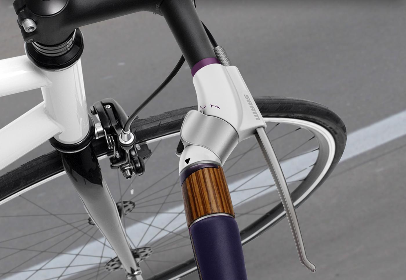 Bike Bicycle gear shift Handlebar modular colors leather wood Brake