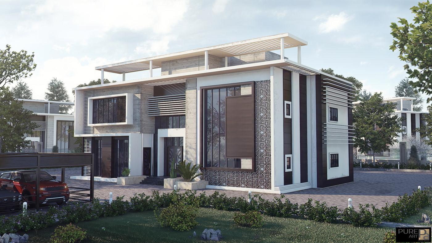 Villa 3D_Rendering vray 3D_Studio_Max photoshop luxury Interior design Classic royal pure_art exterior modern simple