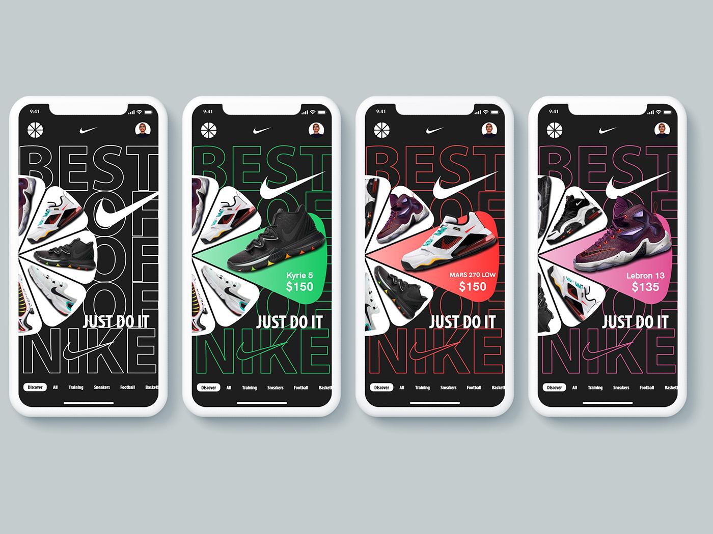 Adobe XD app brand kit Mobile app Nike Nike Shoes UI ui kit ui ux