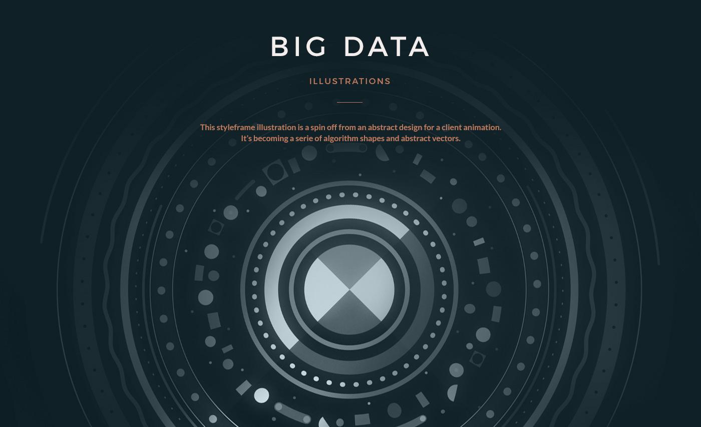 abstract ILLUSTRATION  algorithm flat art shapes Illustrator Big Data
