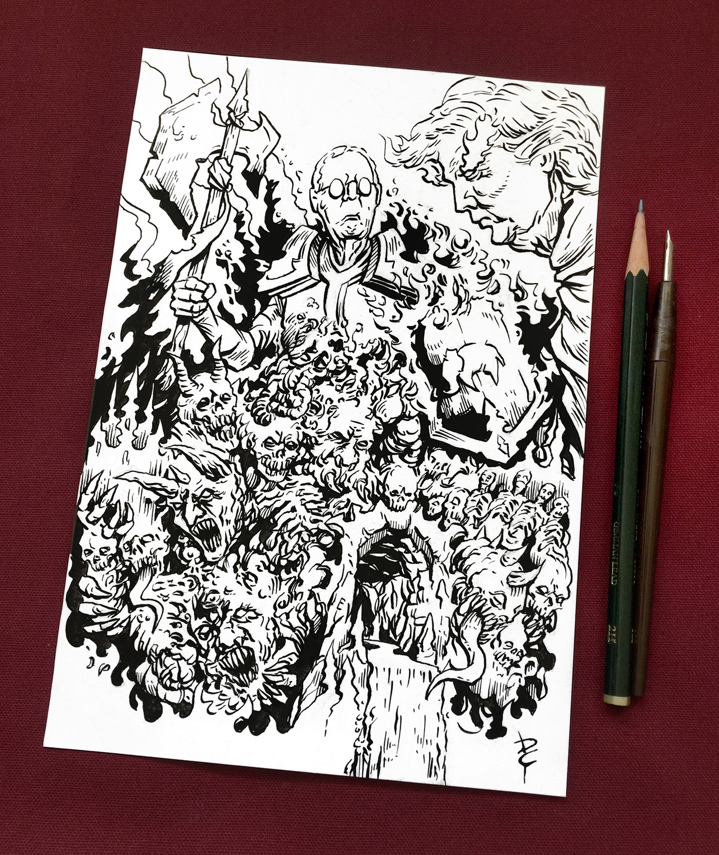 Cartooning  Comic Book Art Donald Trump Drawing  fantasy art ILLUSTRATION  mitch mcconnell pen and ink Political Art