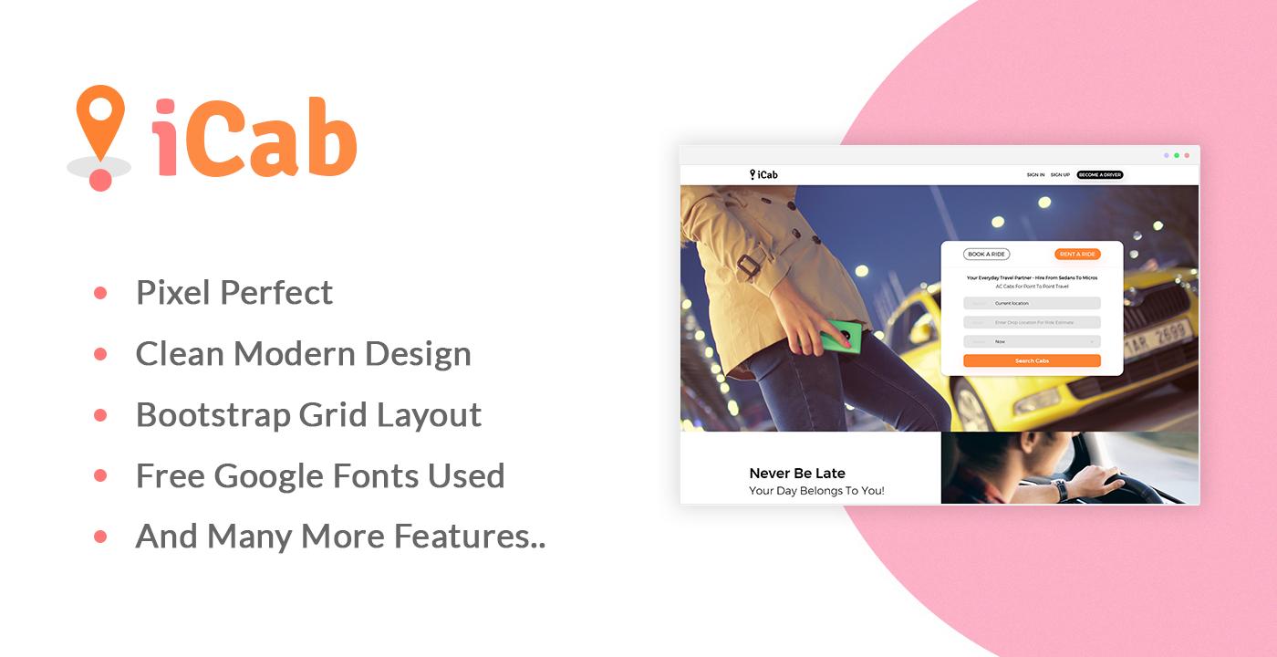 UI ux Web design psd template landing page modern free