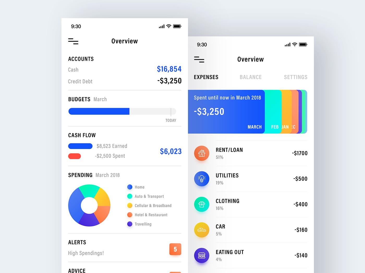 expense tracker app on behance