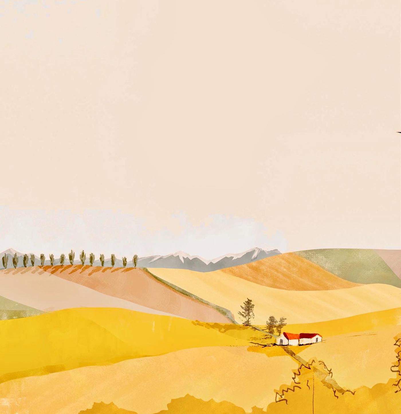 autumn book cover countryside field hills poster SKY children book illustrations Child book ILLUSTRATION  Landscape postcards