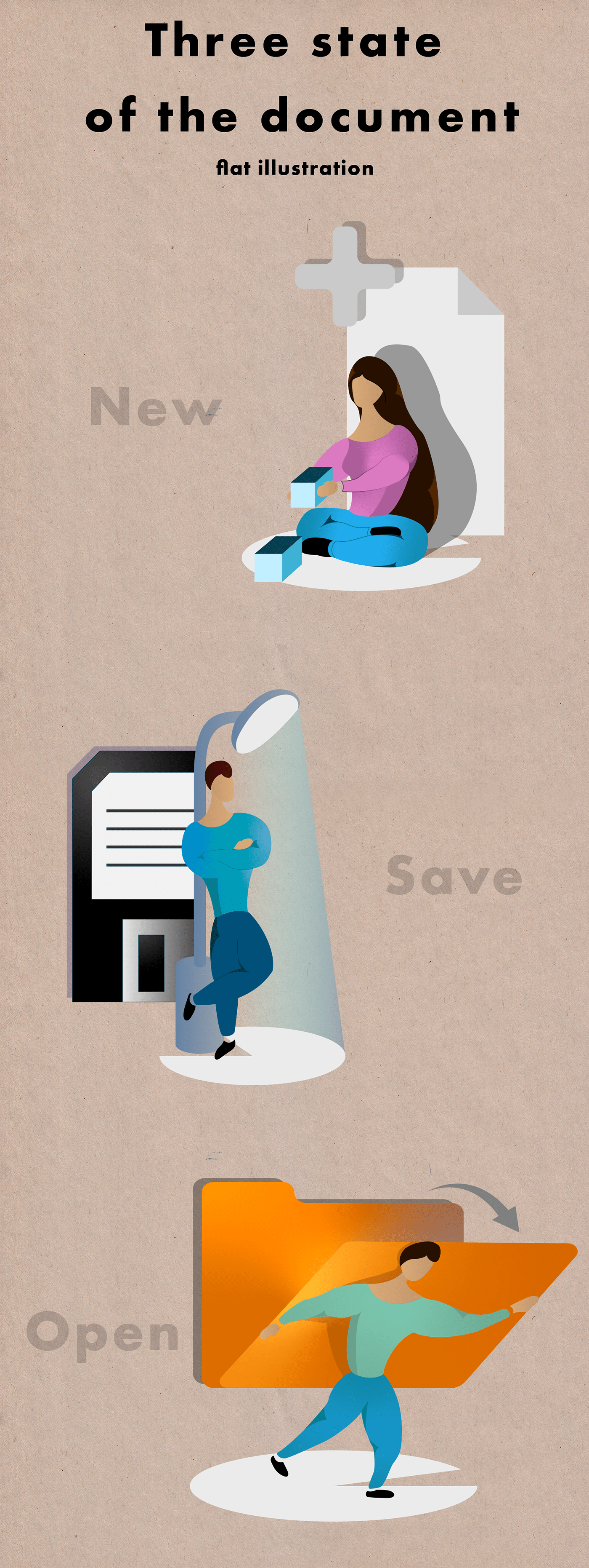 open new save document craft page Illustrator flat