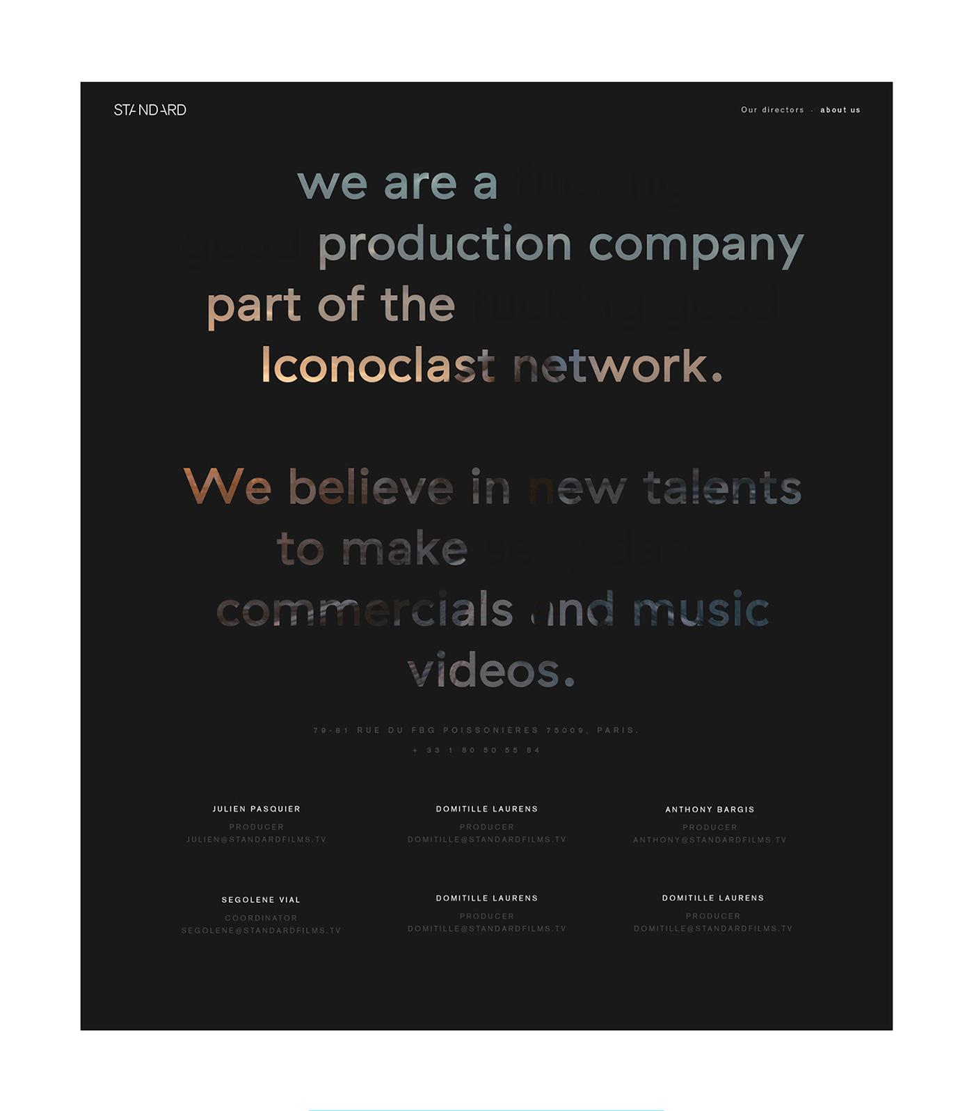 Website interactive showcase motion