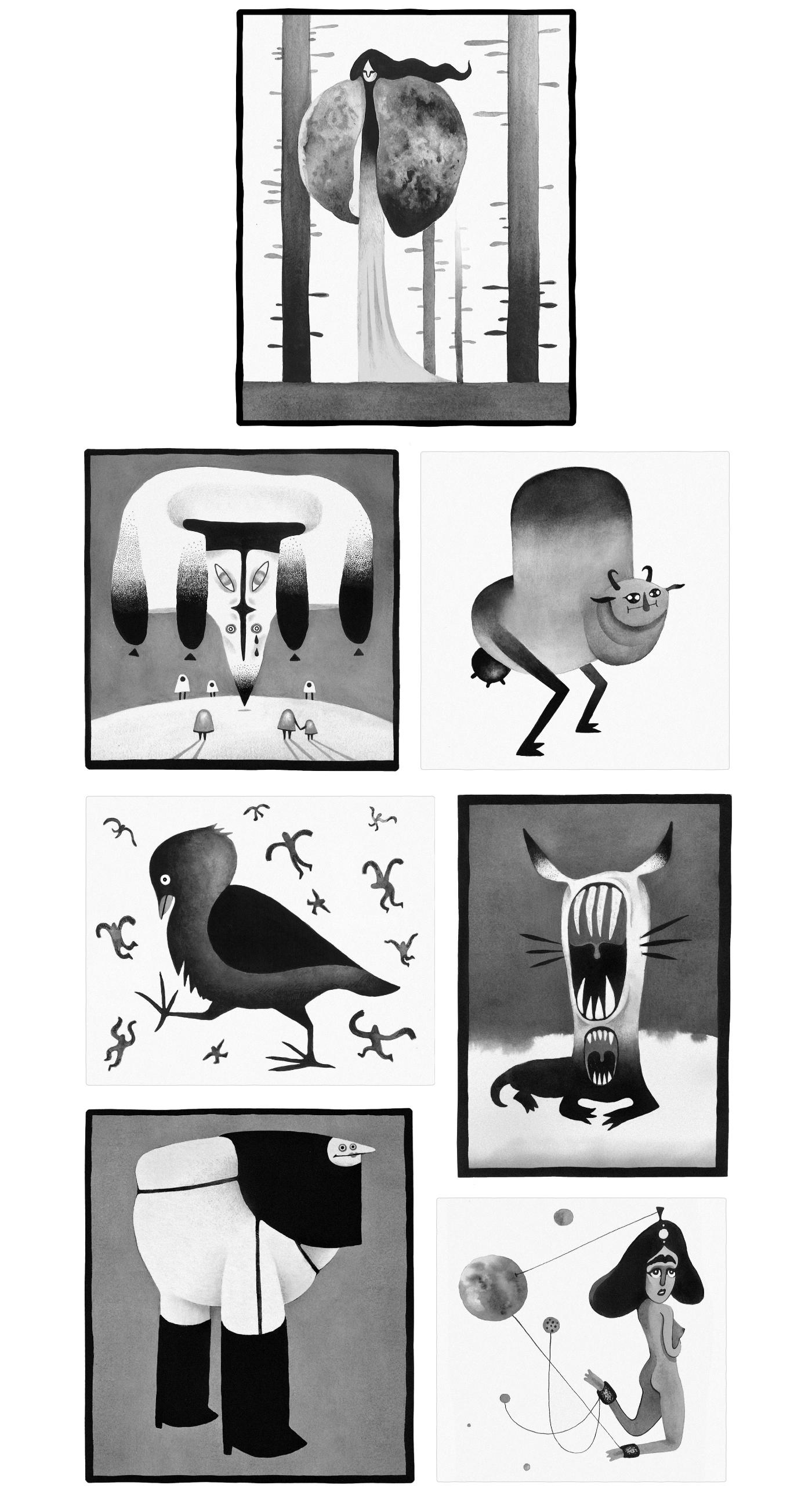 ink Drawing  creature alien cute inktober brush monster fantasy drawings