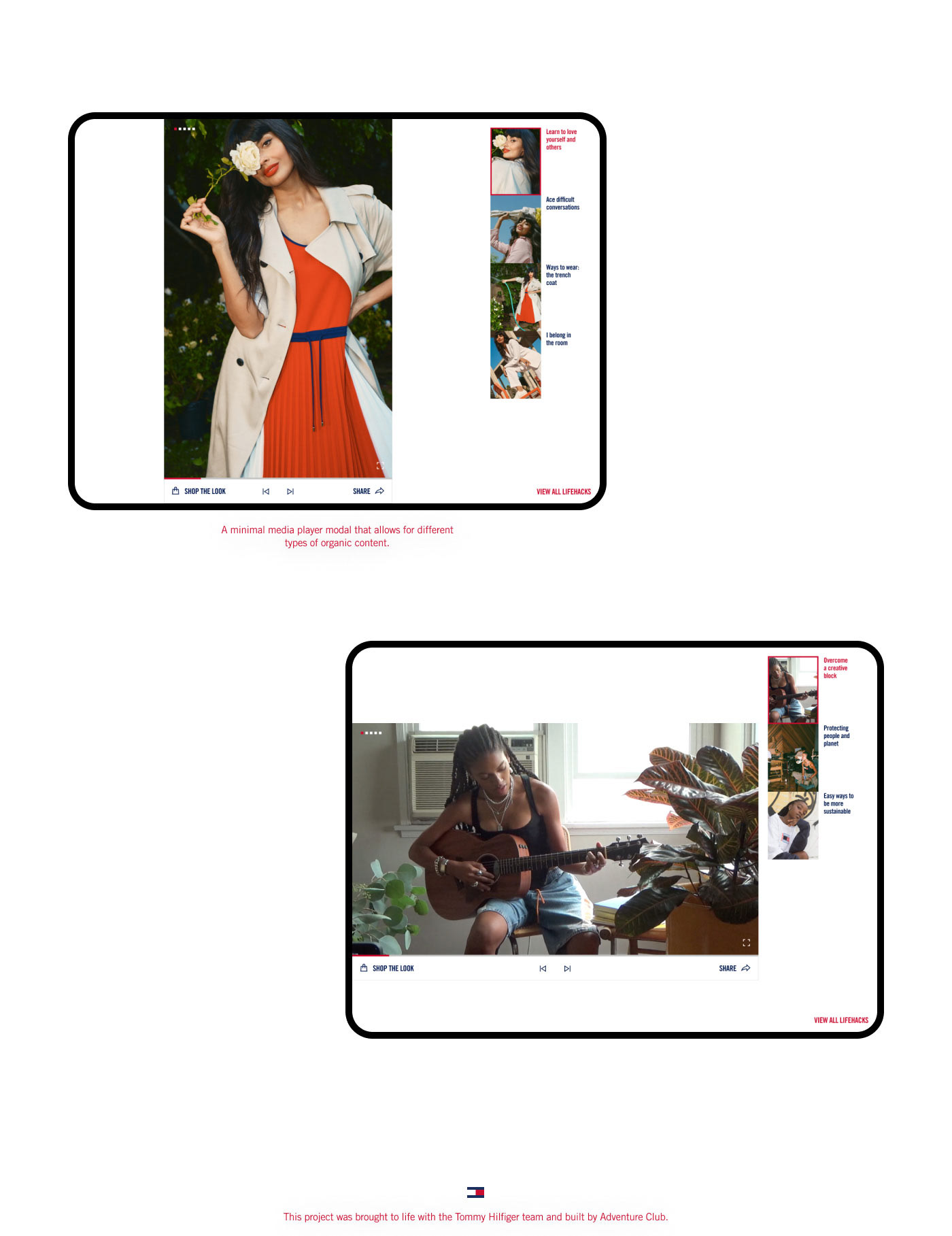 Video player modals, showing how videos fit in both vertical and horizontal sizes. Minimal design
