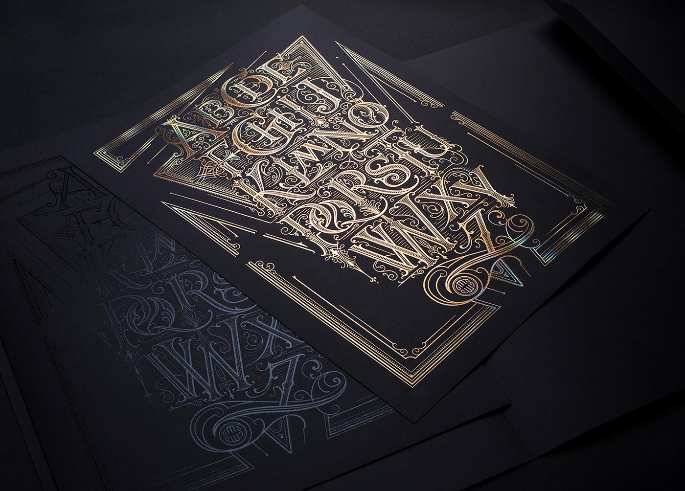lettering type HAND LETTERING poster identity Business Cards letterhead logo Logotype gold foil
