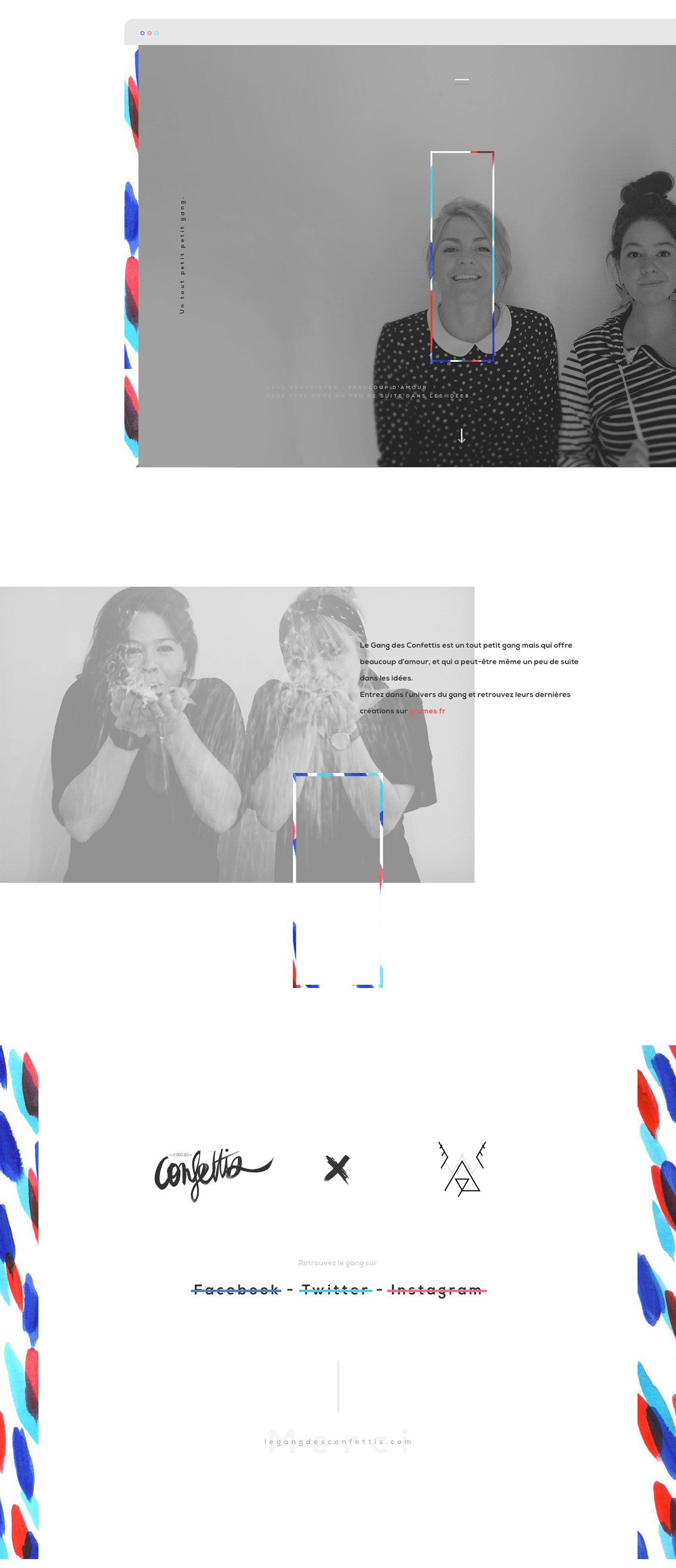 Website Webdesign le gang confettis gang motif