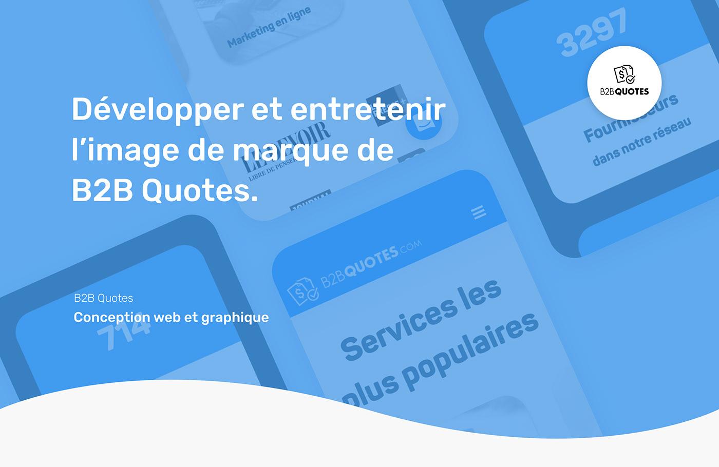 Version téléphone des maquettes de la plateforme web de B2B Quotes.