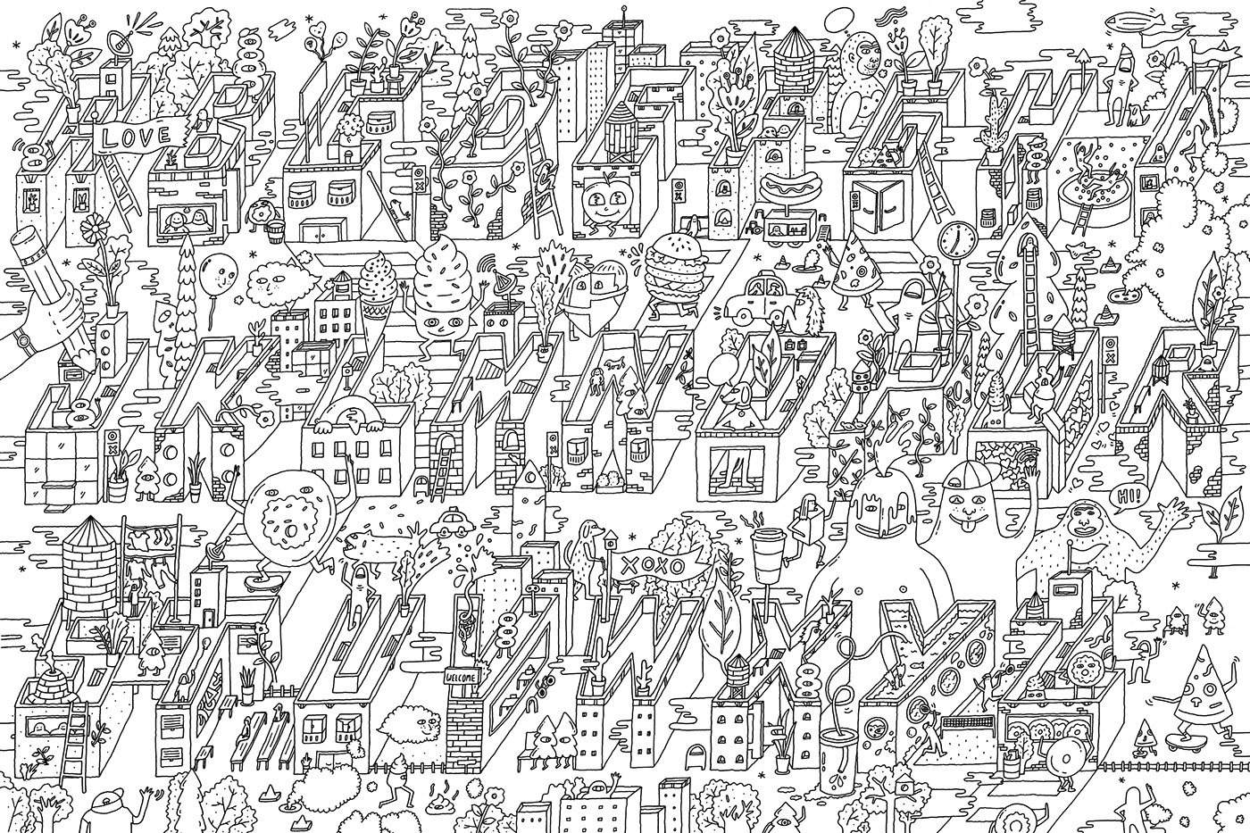 BIG COLORING POSTER \'ALPHABET CITY\' on Behance