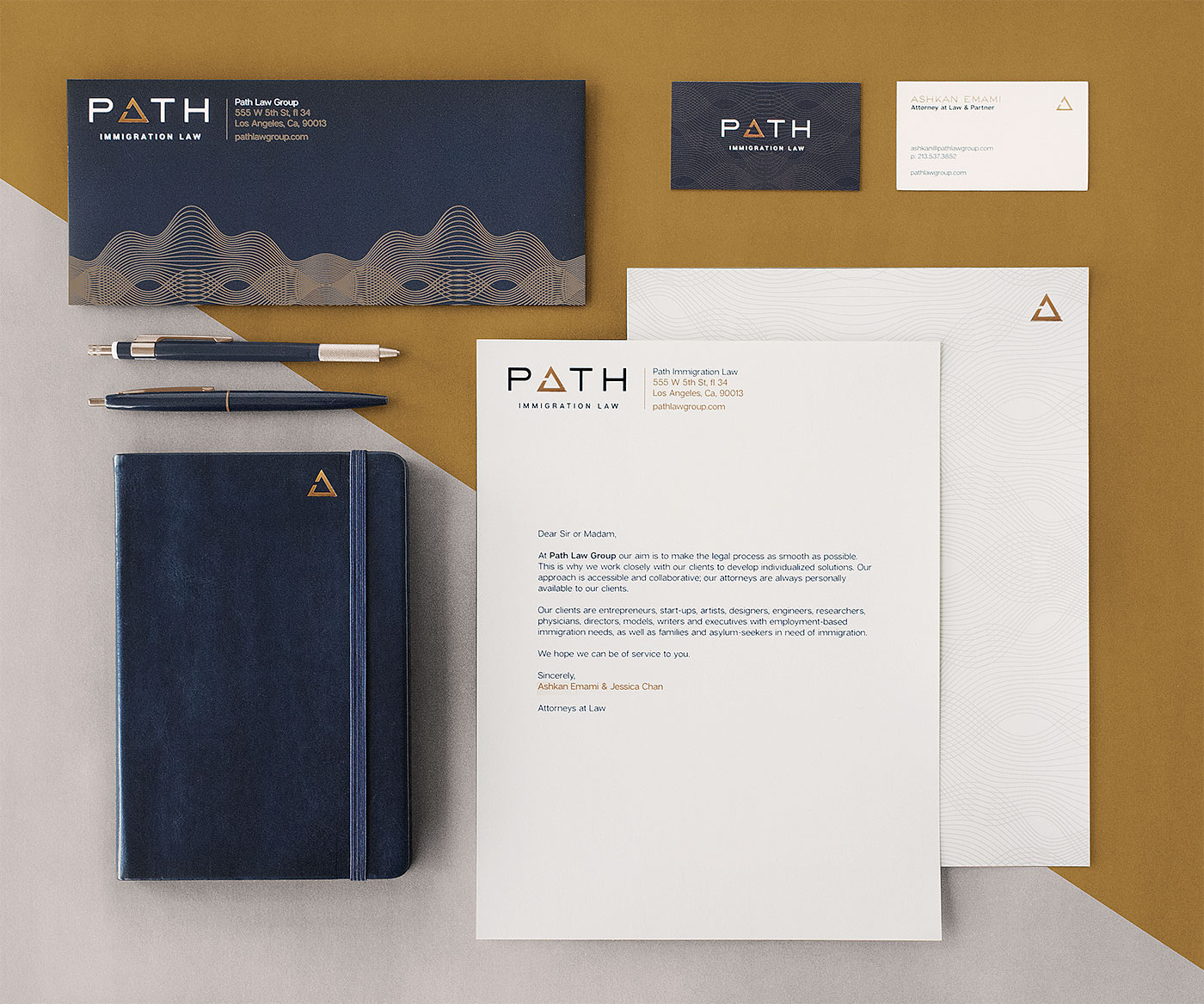 Brand Design brand law path law Immigration Stationery metallic foil icons Logotype wordmark