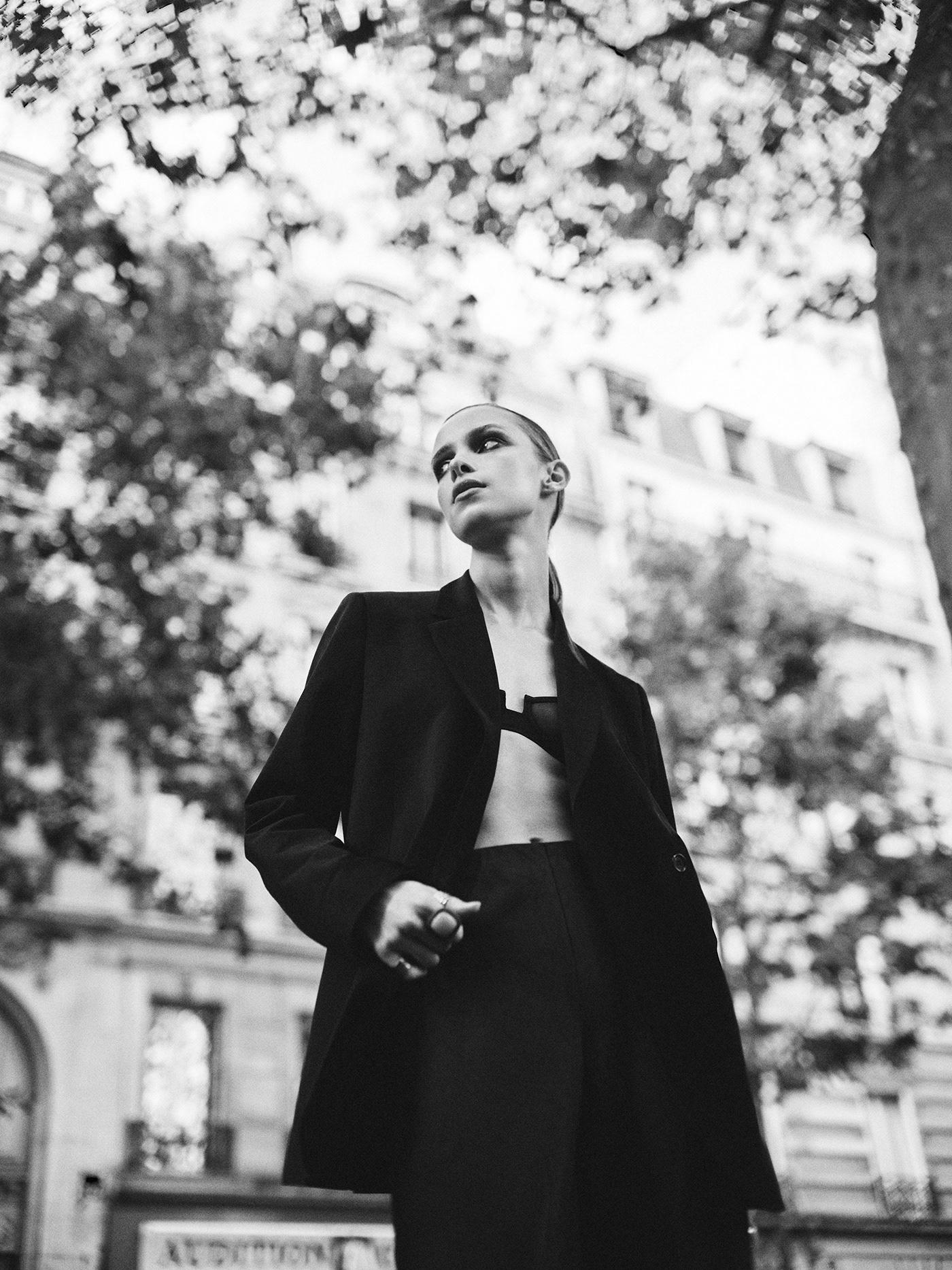 b&w black and white Boyish fashion photography Paris suit