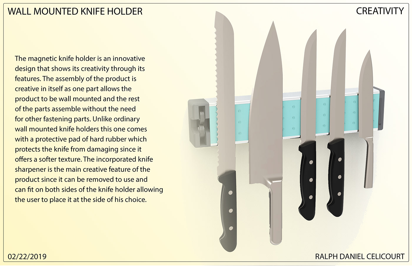Wall Mounted Magnetic Knife Holder knife holder alluminum extruded industrial design  product design  innovaive product concept