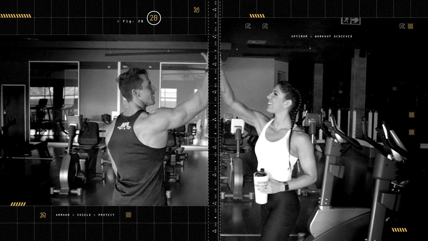 Male and female athlete high-five in the gym